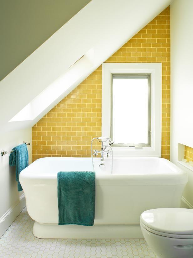 Sunny Yellow | HGTV >> http://www.hgtv.com/design-blog/design/9-bold-bathroom-tile-designs?soc=pinterest