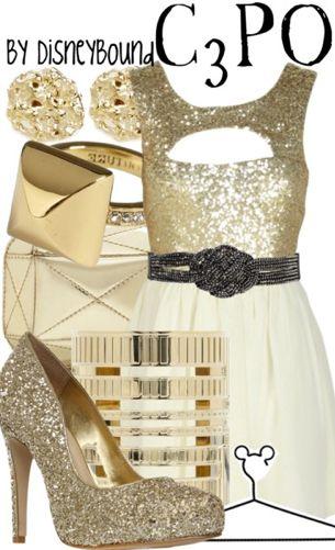 Star Wars C3Po attire-- bridesmaid outfit?