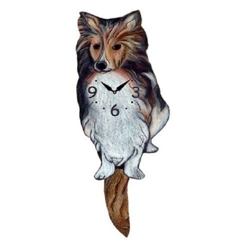 Shetland Sheepdog Dog Wagging Pendulum Clock