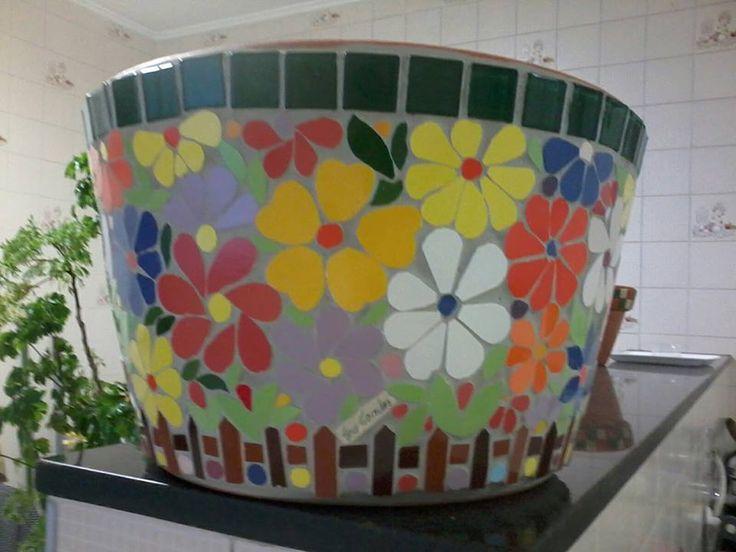 Vaso de cer mica tamanho grande 35 di metro x 22 cm for Mosaico ceramica