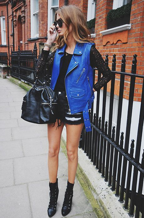 LEATHER GILET- SUPERTRASH SHORTS- BAMBI TOP- BIBA AT HOUSE OF FRASER BOOTS- SAM EDELMAN HANDBAG- TABITHASUNGLASSES- THE ROW BRACELET- STORY