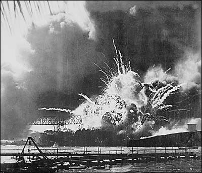The explosion of the ammo chamber on the U.S.S. Arizona after a Japanese bomb penetrated the upper deck of the battleship during the Dec. 7th attack.