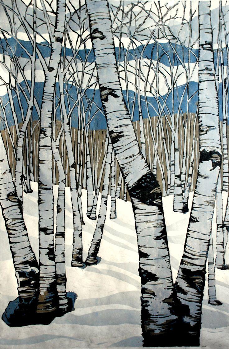 """""""Northern Shadows"""" woodcut by Lisa VanMeter. http://www.lisavanmeter.com/ Tags: Linocut, Cut, Print, Linoleum, Lino, Carving, Block, Woodcut, Helen Elstone, Trees, Birch, Snow."""