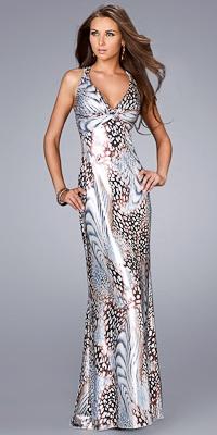 Metallic Animal Print Prom Dressess by La Femme