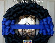 Thin Blue Line Memorial Wreath, Police Wreath, Police Week, Law enforcement, police memorial, thin blue line, fallen officer wreath