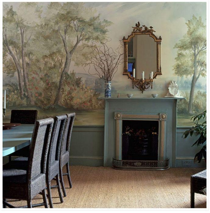 Landscape Mural Wallpaper Dining Room Sisal Rug Jute