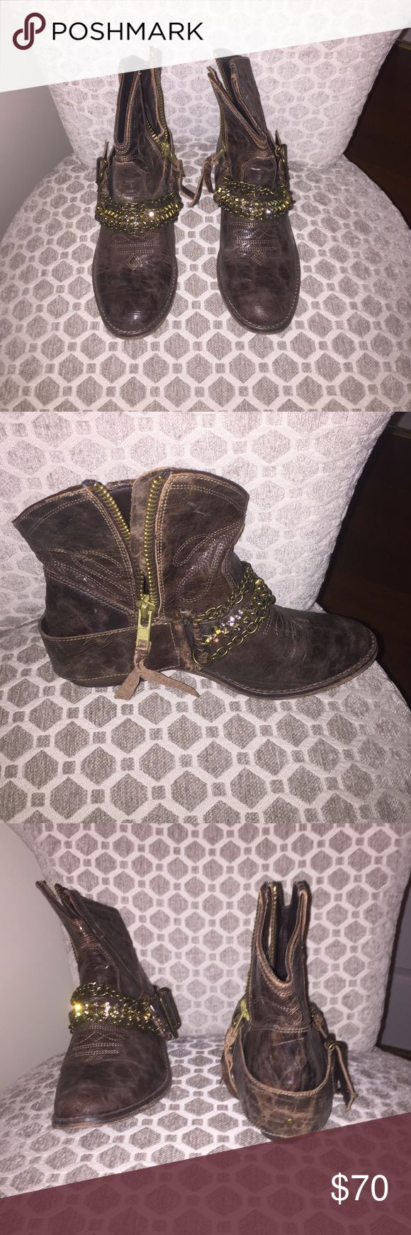 Steve Madden boots. Worn once. Brown Steve Madden boots only worn once. Very cute when paired with a flowy summer dress. Steve Madden Shoes Ankle Boots & Booties