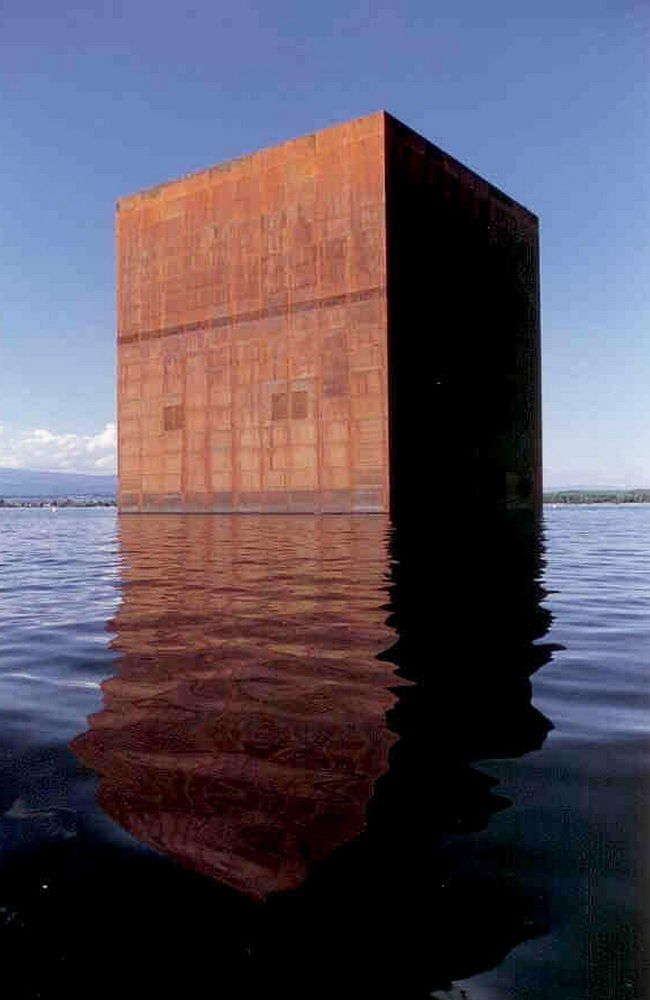 Monolith, Jean Nouvel rusting 34-metre Corten-steel cube (euclidean) geometry material Expo.02, the 6th Swiss national exposition lakes of Neuchâtel, Bienne/Biel and Morat/Murten