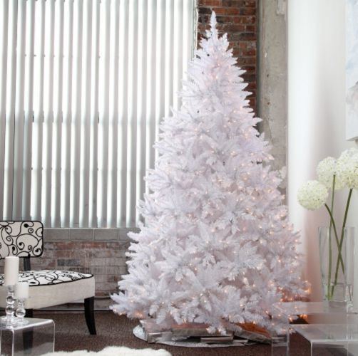 Artificial Christmas Tree White Pre-Lit With Stand Holiday Decor Fire-Retardant #Unbranded