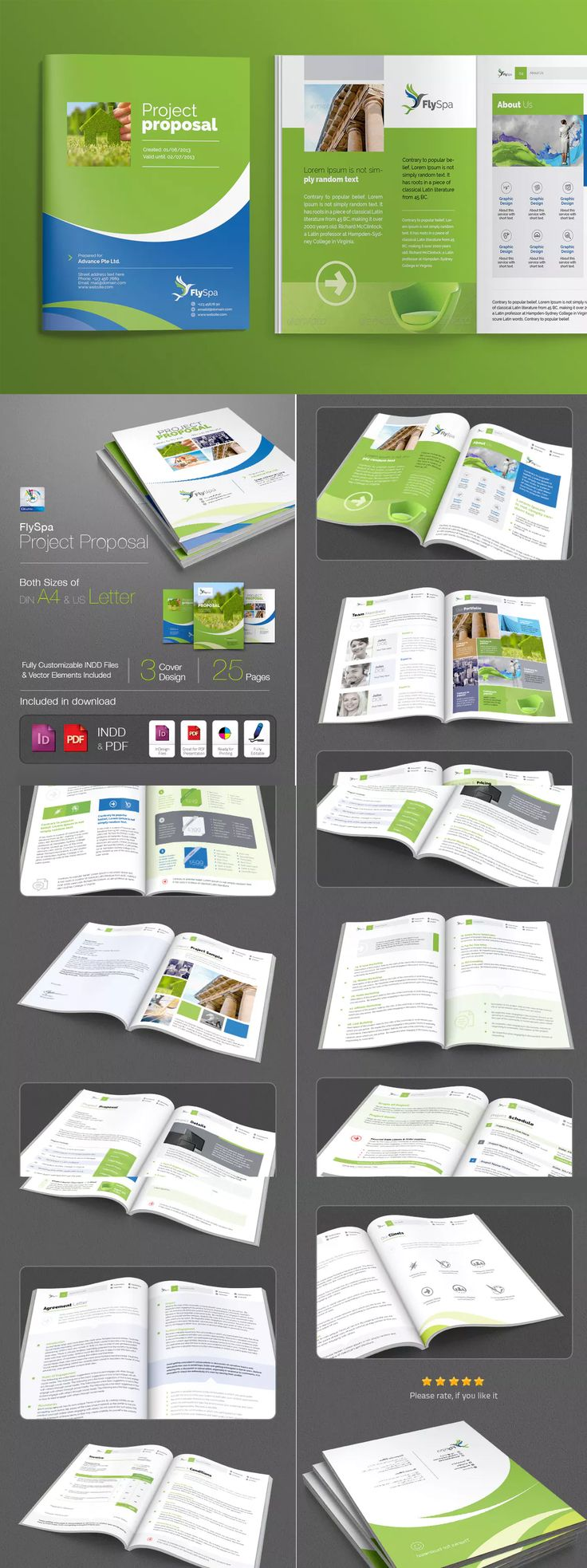 proposal report template%0A FlySpa   Project Proposal Brochure Template InDesign INDD
