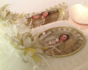 Baptism candle set Virgen de guadalupe by AVAandCOMPANY on Etsy