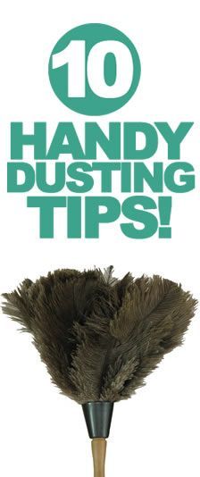 10 dusting tips.  sports sock on a stick for corners and panty hose on a vacuum to keep out what rolled under your bureau.