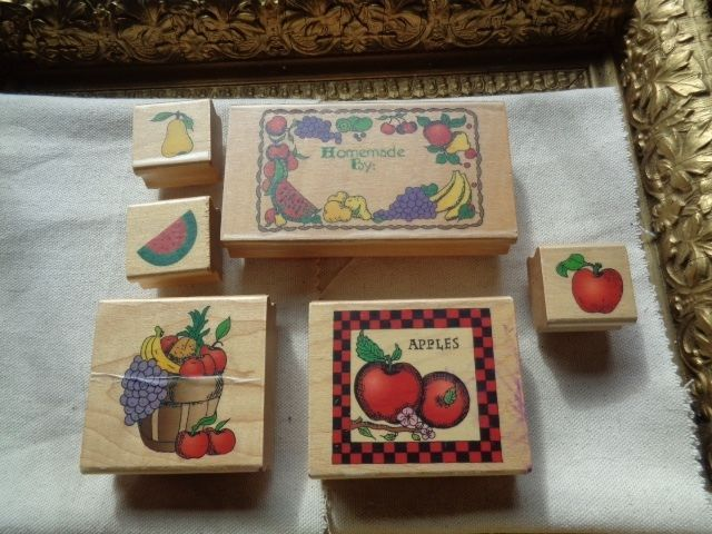 Apples, Pears, Watermelon, Fruit Basket Rubber  Stamp Lot