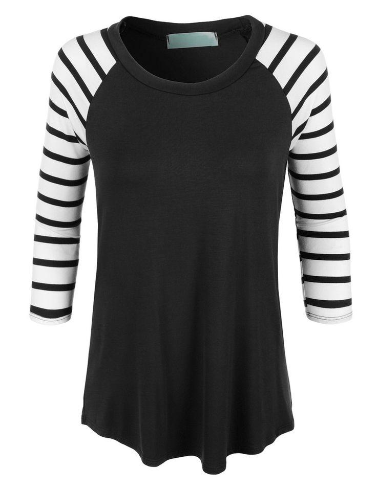 LE3NO Womens Loose Round Neck Striped Raglan Sleeve Baseball T Shirt