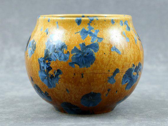Crystalline Blue on Yellow Orange Round Vase Pot Bowl Ceramics Pottery by Moonlit Method Greg and Pamela Beckman