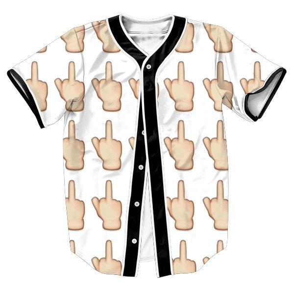 cool Middle Finger Emoji Jersey Summer Style with buttons 3d print Men's shirts sweat shirt top tees