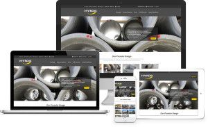 Hynds responsive website shown responding on 4 different screen resolutions…