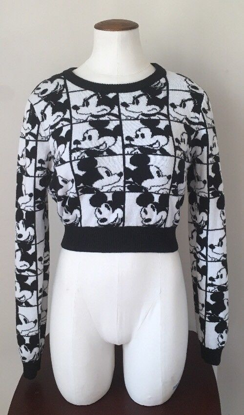 Womens Forever 21 Black White Disney Classic Mickey Mouse Knit Crop Sweater Med | Clothing, Shoes & Accessories, Women's Clothing, Sweaters | eBay!