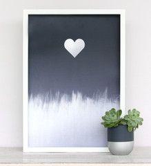 Metallic Sliver Heart Print www.cloudninecreative.co.nz