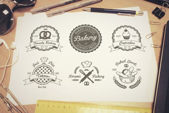 Vintage bakery emblems. Part 2 by VectorPot on @creativemarket