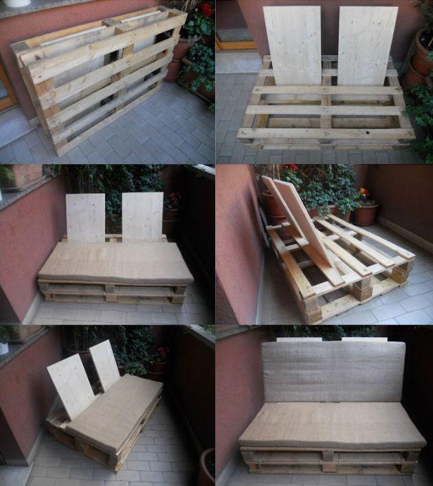 Sofá compacto y desmontable hecho con palets