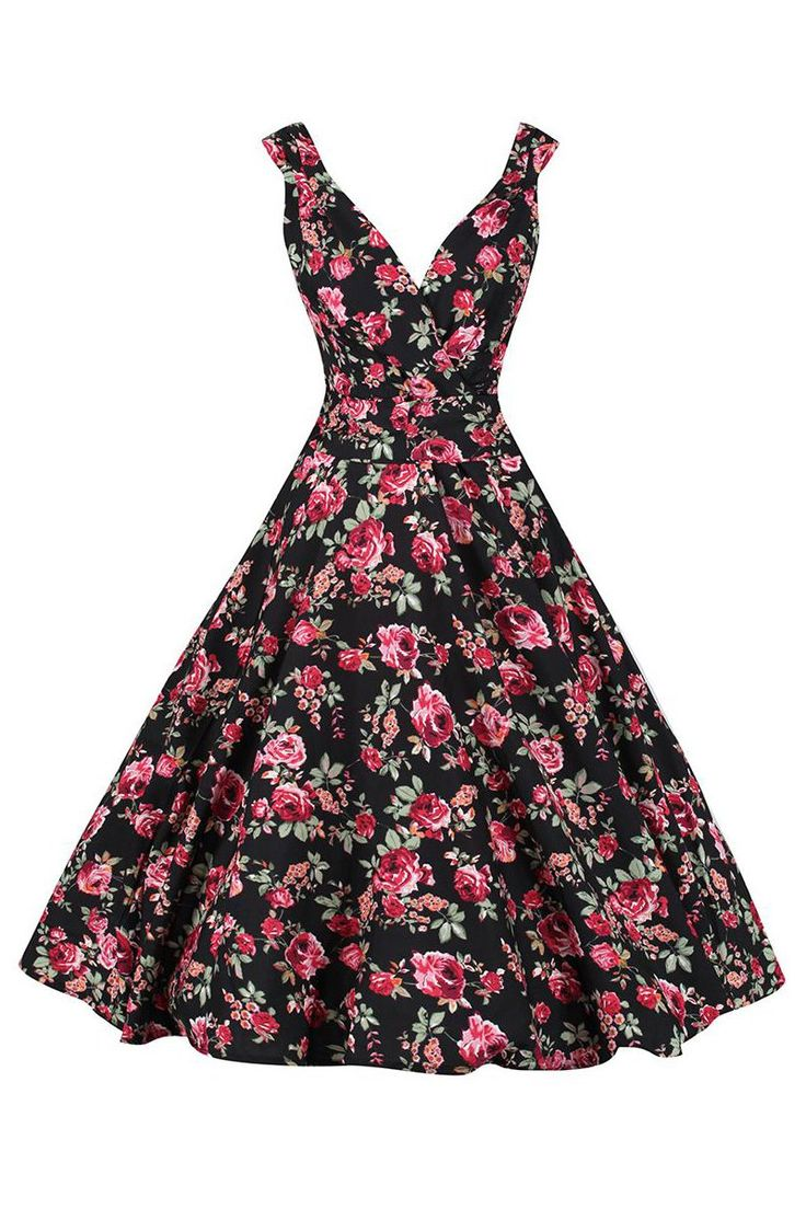 Black Floral Print Sleeveless Vintage Rockabilly 50s Swing Dress