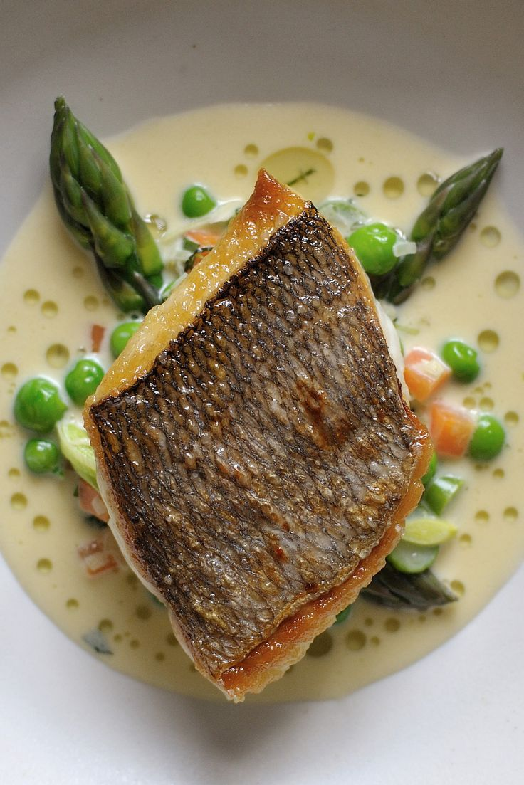 he firm flesh of bream in Nathan Outlaw's recipe is complemented by the sweet flavour of cream-enriched tartare-style sauce flecked with potatoes, asparagus, lettuce and peas. You can buy two large, whole fish if you want to fillet them yourself, or ask your fishmonger to do this for you.