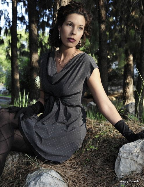 Romantic 30's style evening dress  polka dot little by lilybrush, $129.00