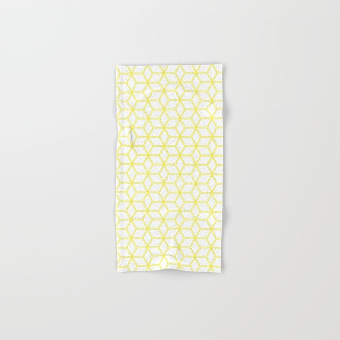 Hive Mind Yellow 193 Hand Bath Towel By Natural Collective Co Geometric Square Cube Nature Natural Patter Geometric Lattice Pattern Pattern