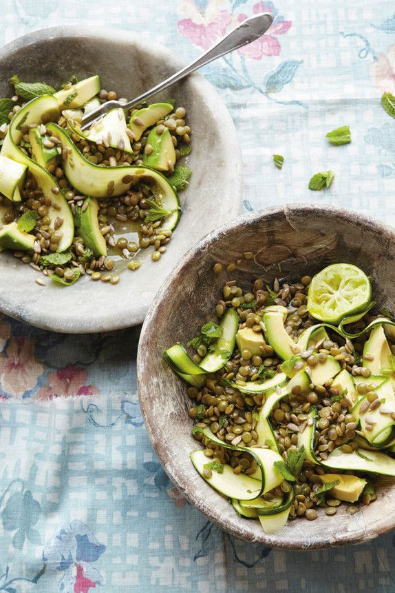 Lentil, Courgette and Mint Salad - a fresh, zingy yet filling option for a vegetarian lunch