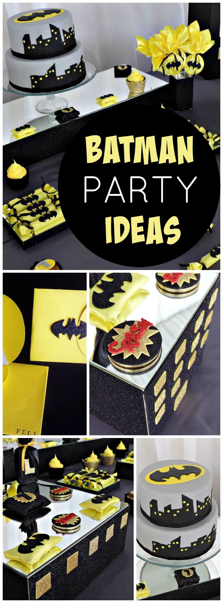 How cool is this Batman candy bar in gray, yellow, and black! See more party ideas at CatchMyParty.com!