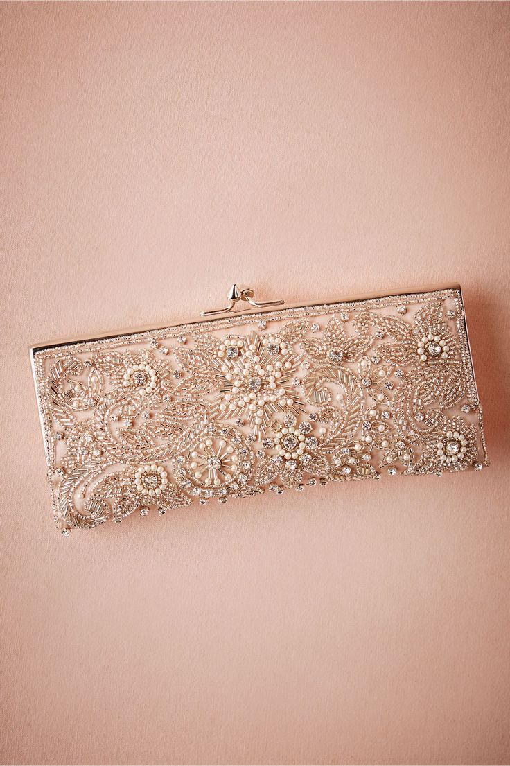 """BHLDN Tearoom Clutch in  Décor Gifts at BHLDN: by Moyna; fits iPhone, tissue pack, lipstick, compact mirror, dental floss and powder; hidden chain strap, kisslock closure; 4""""h x 8.5""""w x 1""""d; 20"""" strap drop; handmade; color: blush; $180"""