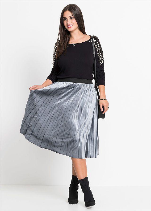 Spodnica Aksamitna Niebieskoszary Bonprix Sklep Plus Size Outfits Midi Skirt Outfits