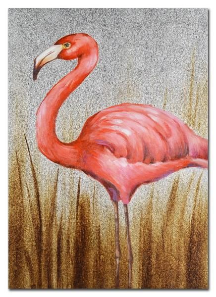 $37.90 Left Facing Flamingo Hand Painting Picture 50*70*3cm