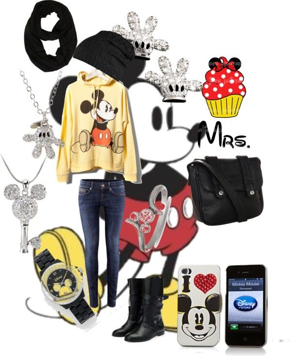 """""""Mickey disney outfit"""" by kiera-mae on Polyvore -- Love it!! But I'd trade out the skinny jeans."""