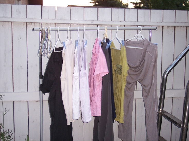 You too can save power and money with a garment rack. Move it inside in the winter to humidify the house.