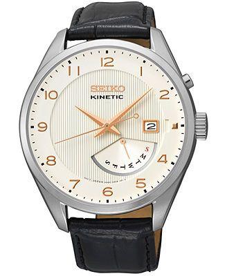 Seiko Men's Kinetic Retrograde Black Leather Strap Watch 42mm SRN049