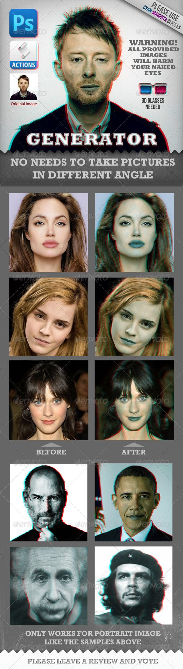 Anaglyph 3D Face Generator (Real Works)