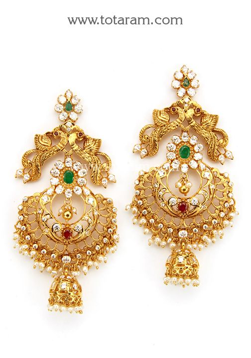 22K Gold 'Peacock' Long Earrings (Chand Bali) with Ruby,Emerald,Cz  & Pearls