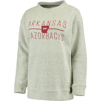 Women's Pressbox Cream Arkansas Razorbacks Comfy Terry Crew Sweatshirt