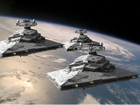 star destroyers in orbit - stars, clouds, starships, planet, sea