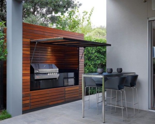 great idea for retractable hidden grill area, though I'd probably use older weathered wood for more character. some great ideas that can be done with this. to be honest though I'd probalby not use this but I'd rather have it saved than spend hours looking for it again just in case