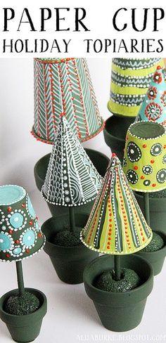 DIY Christmas Crafts | Paper Cup Topiaries