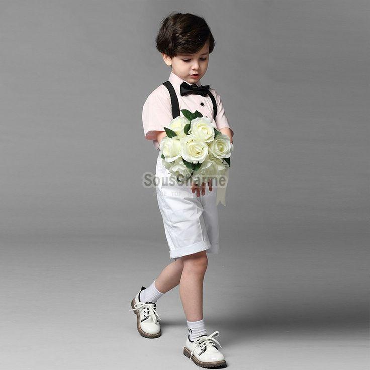 Ensemble cérémonie garçon d'honneur mariage pas cher couleur blanc bleu / rose avec 4 pièces