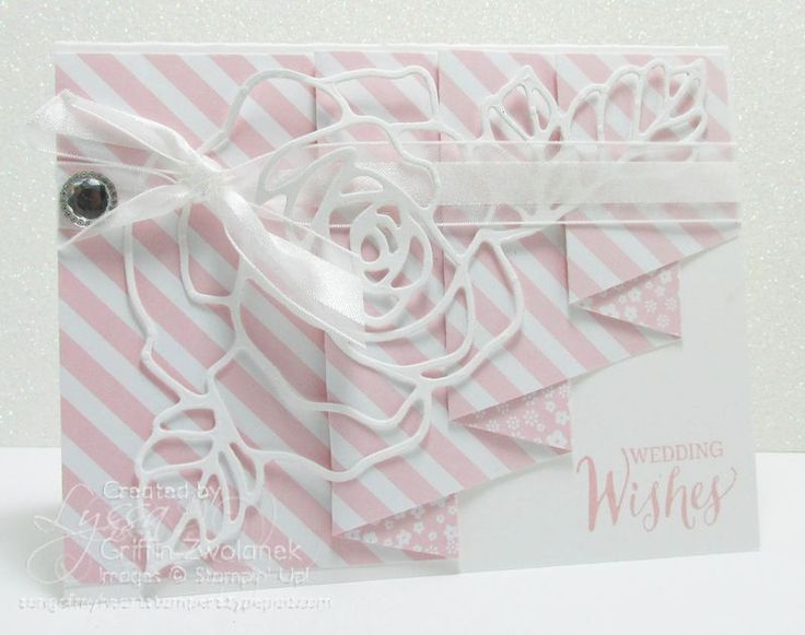 Wedding card using Stampin Up Rose Wonder stamp & die bundle. By Lyssa.  2016 Occasions Catalogue