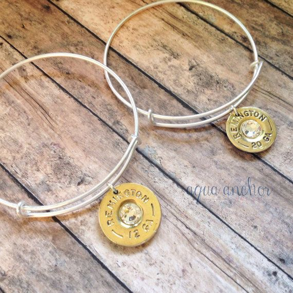 Shotgun Shell Matte Silver Adjustable Bangle by AquaAnchorDesigns