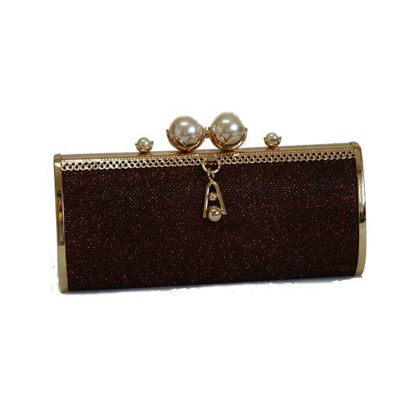 Poseta metalica stralucitoare cu perle - GE0069  www.outfit-online.ro