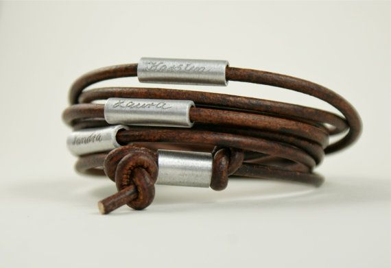 Personalized engraved leather bracelet, wrapped bracelet,bracelet with names,real leather,wrap bracelet,dark-brown,brown, MY FAMILY