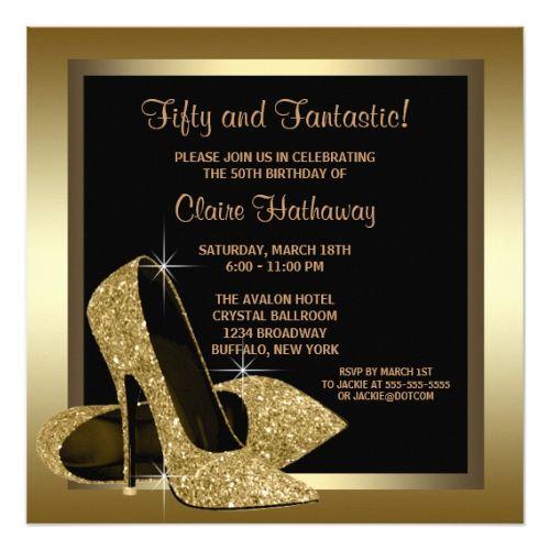 Black And Gold High Heels Womans 50th Birthday Invitation Birthday