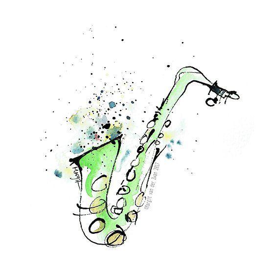 Saxophone - vibrant ink sketch of sax